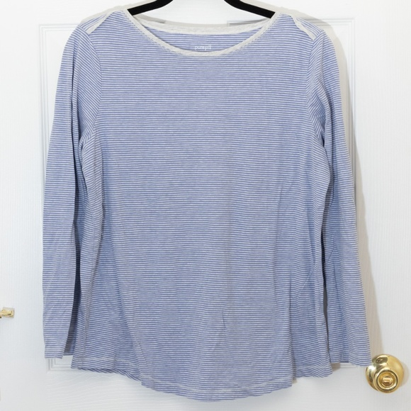 324e9cb8bc27 J. Jill Tops | Pure Jill J Jill Cotton Sleep Shirt Blue Striped ...